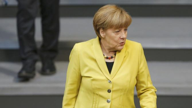 German Chancellor Merkel arrives at the Bundestag in Berlin