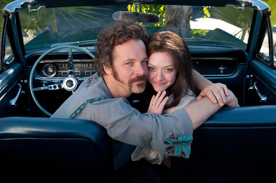 "This film publicity image released by RADIUS-TWC shows Peter Sarsgaard as Chuck Traynor, left, and Amanda Seyfried as Linda Lovelace in ""Lovelace."" The film opens nationwide on Aug. 9. (AP Photo/RADIUS-TWC, Dale Robinette)"