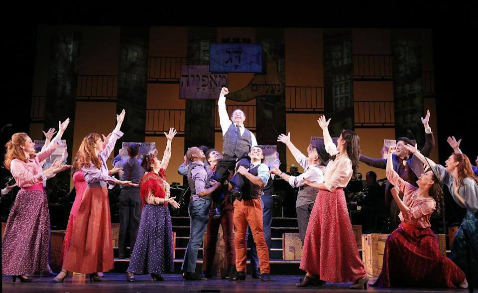 "This Jan. 29, 2013 photo released by New York City Center shows Danny Rutigliano, center, and the cast during a performance of ""Fiorello!"" in the Encores! series at New York City Center in New York. (AP Photo/New York City Center, Joan Marcus)"