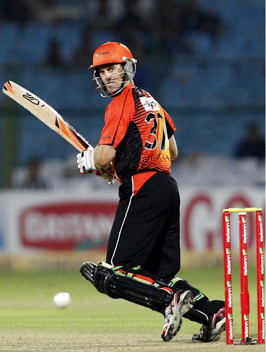 Perth Scorchers player in action against Rajasthan Royals during the CLT20 match at Sawai Mansingh Stadium, Jaipur on Sept. 29, 2013.(Photo: IANS)
