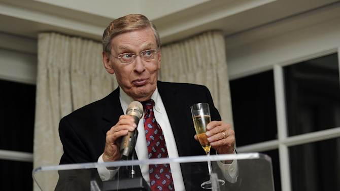 Baseball commissioner Bud Selig speaks at a reception for baseball Hall of Famer Hank Aaron, Friday, Feb. 7, 2014, in Washington. Aaron is turning 80 and is being celebrated with a series of events in Washington. (AP Photo/Nick Wass)