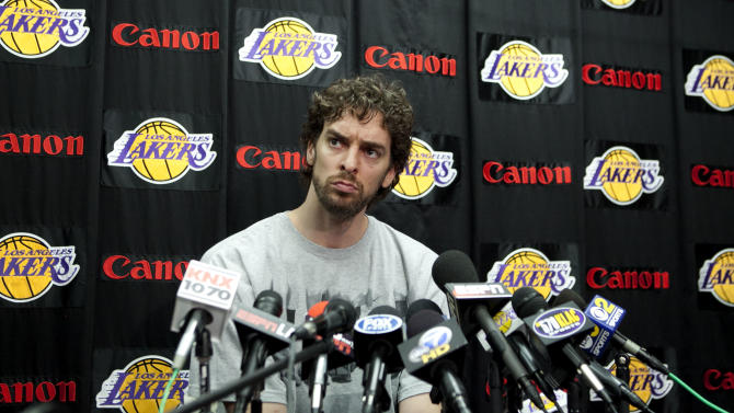 Los Angeles Lakers' Pau Gasol, of Spain, listens to a question from the media during his exit interview at the team's basketball training facility in El Segundo, Calif., Tuesday, May 10, 2011. The Lakers were swept by the Dallas Mavericks in the second round of the NBA playoffs. (AP Photo/Jae C. Hong)