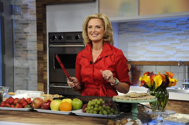 This image released by ABC shows Ann Romney, wife of Republican presidential hopeful Mitt Romney during a cooking segment on &quot;Good Morning America,&quot; Wednesday, Oct. 10, 2012 in New York. Romney served as a guest co-host on the popular morning show. (AP Photo/ABC, Ida Mae Astute)