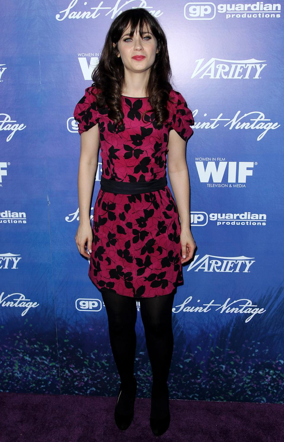 Zooey Deschanel attends the Variety and Women in Film Pre-Emmy Event at Scarpetta on Friday, Sept. 21, 2012, in Beverly Hills, Calif. (Photo by Matt Sayles/Invision/AP)