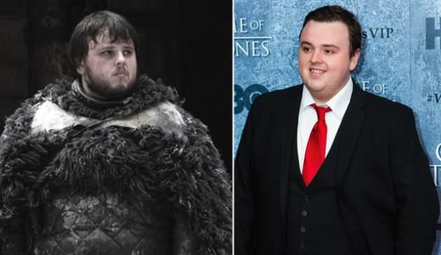 John Bradley as Samwell Tarly in 'Game of Thrones' (left) and at the Seattle 'Game of Thrones' event (right) -- Getty Images