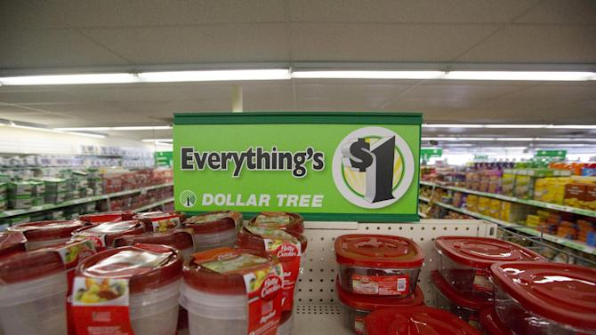 Advertising sign is pictured at a Dollar Tree store in Pasadena