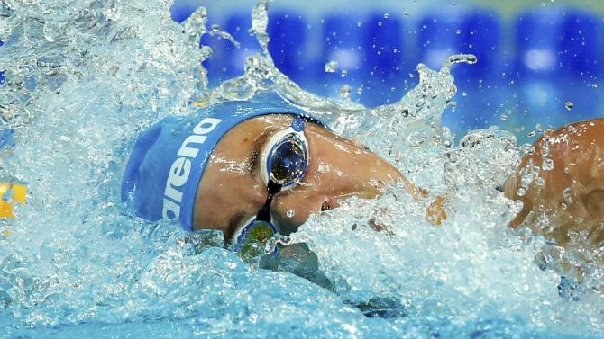 Russia's Openysheva competes in the women's 400m freestyle heats at the Aquatics World Championships in Kazan