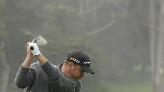 Matthew Bettencourt hits a drive on the ninth hole during the first round of the U.S. Open Championship golf tournament Thursday, June 14, 2012, at The Olympic Club in San Francisco. (AP Photo/Eric Risberg)