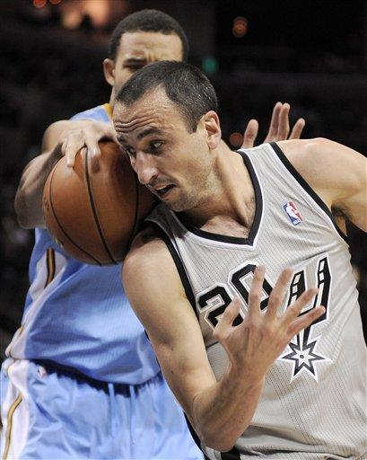 Ginobili powers Spurs past Nuggets 126-100