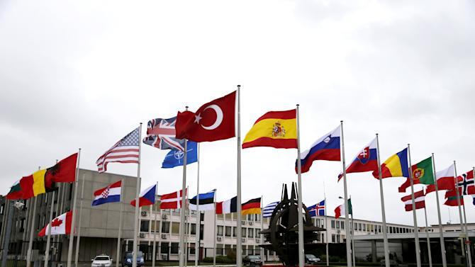 A Turkish flag flies among others flags of NATO members during the North Atlantic Council at the Alliance headquarters in Brussels