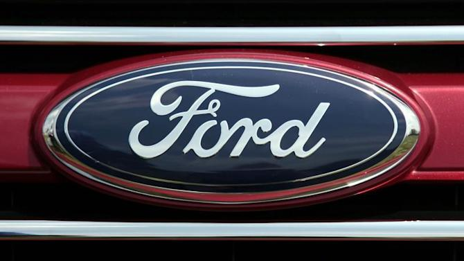 A Ford logo is pictured at a press event to unveil the new 2011 Ford Explorer outside the Ford Motor World Headquarters in Dearborn