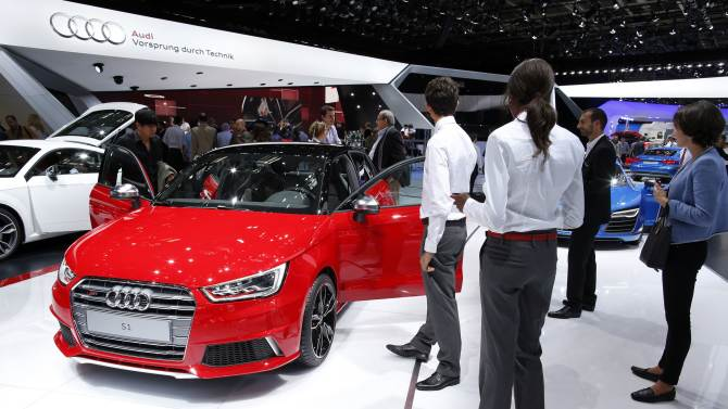 An Audi S1 car is displayed on media day at the Paris Mondial de l'Automobile