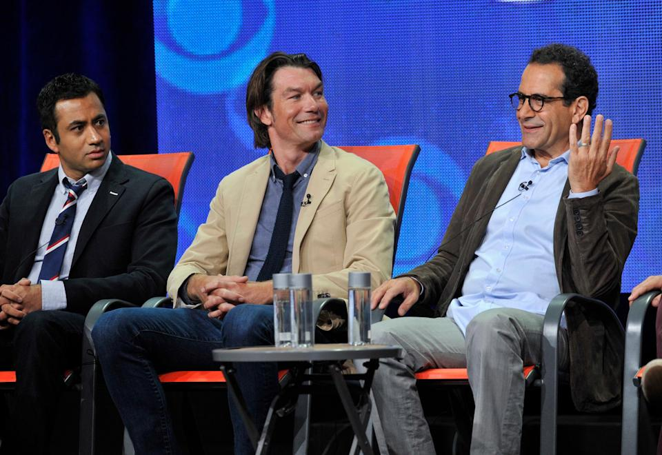 "Cast members, from left, Kal Penn, Jerry O'Connell and Tony Shalhoub participate in the ""We Are Men"" panel at the CBS Summer TCA on Monday, July 29, 2013, at the Beverly Hilton hotel in Beverly Hills, Calif. (Photo by Chris Pizzello/Invision/AP)"