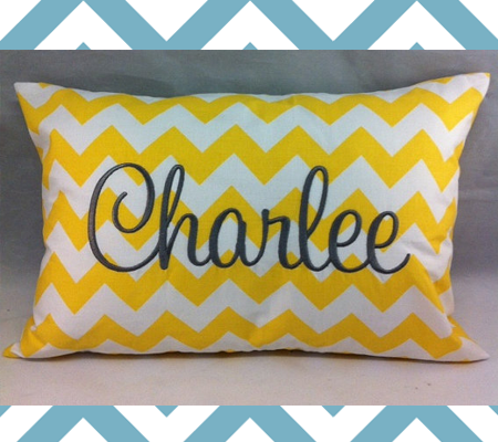 Custom Name Pillow with Chevron Print