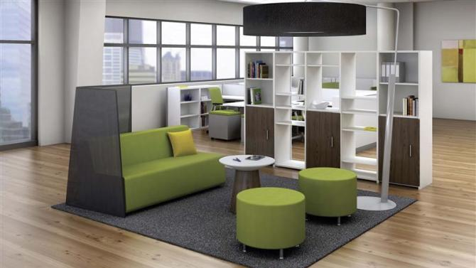 Handout photo of the Currency workwall office seating area designed by furniture manufacturer Steelcase Inc