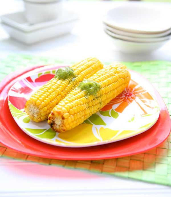 Oven Roasted Corn with Lime-Basil Butter