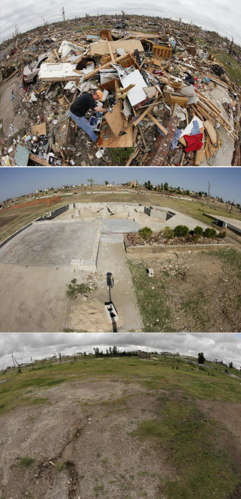 This three-photo combo taken with a fisheye lens shows a scene taken on May 25, 2011, top, July 21, 2011, center, and May 7, 2012, bottom, shows progress made in Joplin, Mo. in the year after an EF-5
