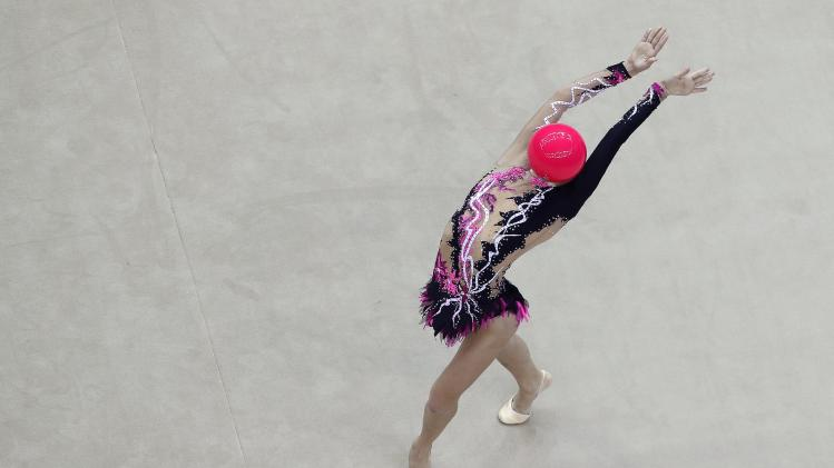 Ukraine's Valeriya Khanina competes during the rhythmic gymnastics individual all-around final match at the 2014 Nanjing Youth Olympic Games in Nanjing