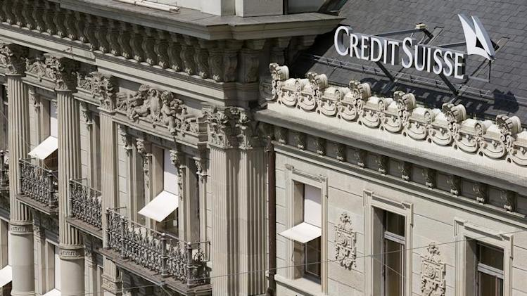 The logo of Swiss bank Credit Suisse is seen at his headquarters at the Paradeplatz square in Zurich