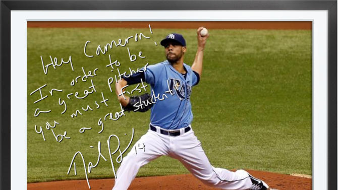 This undated photo provided by Egraphs shows an Egraph signed by Tampa Bay Rays pitcher David Price. Egraphs, launched at the All-Star break, is a technological breakthrough that offers an autographed digital picture with a handwritten note and a personalized audio message for $50. (AP Photo/Egraphs)