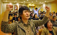 "South Korean Christians pray against Lady Gaga's concert accusing the US pop star of advocating homosexuality and pornography at a church in Seoul April 22. Accused of contaminating youngsters with ""satanic"" dance moves and ""intolerable"" outfits, the cult of Lady Gaga is on a collision course with Asia's moral guardians ahead of her mammoth world tour"