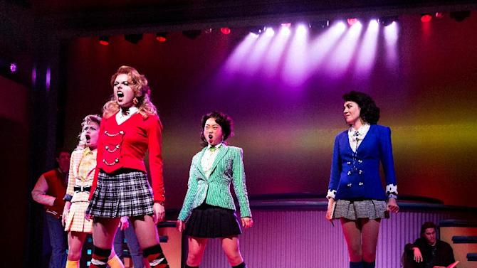 """This image released by Vivacity Media Group shows the cast in a scene from the musical """"Heathers"""" performing at New World Stages in New York. (AP Photo/Vivacity Media Group, Chad Batka)"""