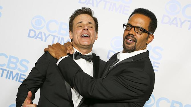 Christian LeBlanc, left, and Kristoff St. John arrive at the 2015 Daytime Emmy Awards CBS After Party at The Hollywood Athletic Club on Sunday, April 26, 2015, in Los Angeles. (Photo by Rich Fury/Invision/AP)