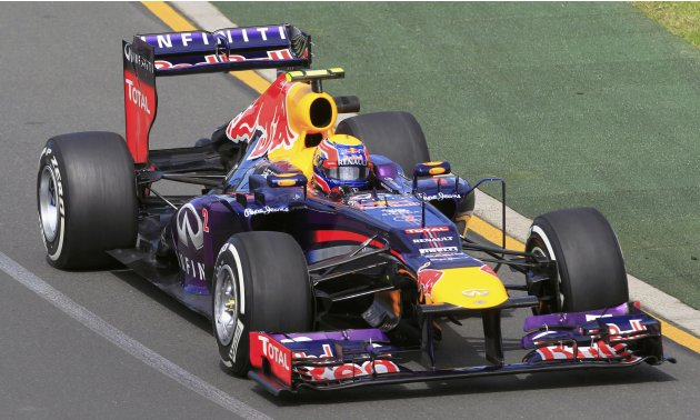 Red Bull Formula One driver Mark Webber of Australia drives during the first practice session of the Australian F1 Grand Prix at the Albert Park circuit in Melbourne