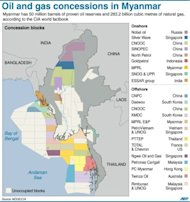 Graphic showing oil and gas concessions in Myanmar. Washington on Wednesday gave the green light for firms to invest in the southeast Asian country, including in oil and gas, in its greatest loosening of sanctions to reward reforms after nearly half a century of military rule