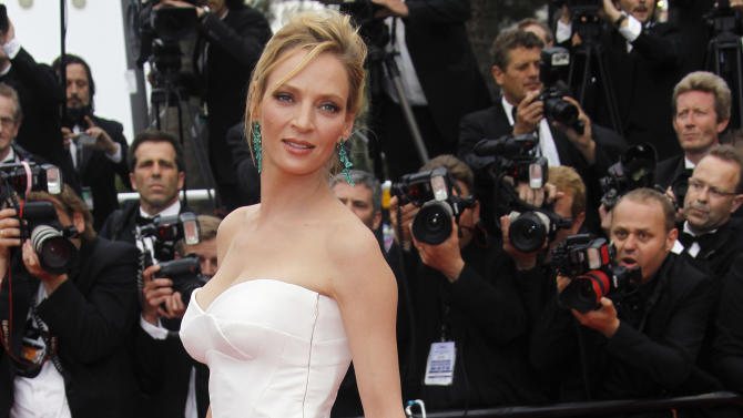 Actress Uma Thurman for the screening of Midnight in Paris and the opening ceremony, at the 64th international film festival, in Cannes, southern France, Wednesday, May 11, 2011. (AP Photo/Joel Ryan)