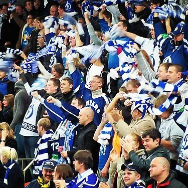Crowd celebrates goal by Dynamo Moscow