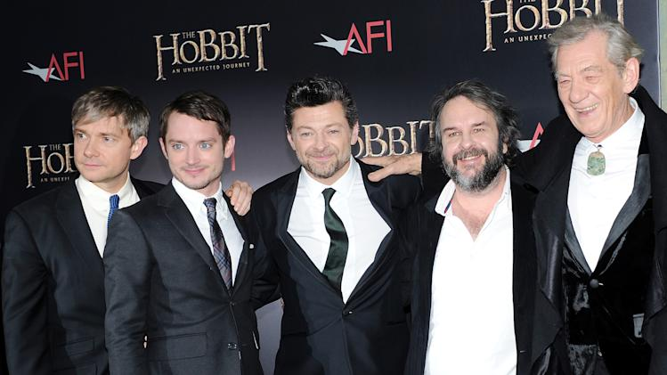"Cast members, from left, Martin Freeman, Elijah Wood, Andy Serkis, director Peter Jackson and Ian McKellen attend the premiere of ""The Hobbit: An Unexpected Journey"" at the Ziegfeld Theatre on Thursday Dec. 6, 2012 in New York. (Photo by Evan Agostini/Invision/AP)"