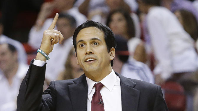 Miami Heat head coach Erik Spoelstra speaks to players against the Indiana Pacers during the first half of Game 7 in their NBA basketball Eastern Conference finals playoff series, Monday, June 3, 2013 in Miami. (AP Photo/Lynne Sladky)