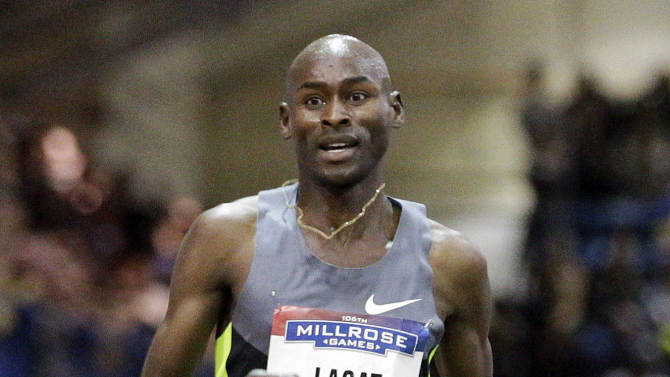 FILE - In this Feb. 16, 2013 file photo, Bernard Lagat competes in the Men's Two Mile event during the 106th Millrose Games in New York. Lagat will run the longest race of his career when he competes in next month's NYC Half. He said Tuesday, Feb. 19, 2013 he would enter the 13.1-mile half-marathon through Manhattan on March 17. (AP Photo/Frank Franklin II, File)