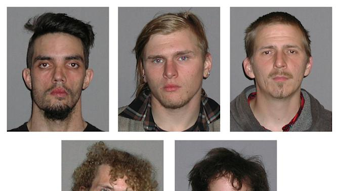 Photos provided by the FBI show five men arrested Monday, April 30, 2012, and accused of plotting to blow up a bridge near Cleveland, Ohio, the FBI announced Tuesday, May 1, 2012. Top row, from left, are Douglas Wright, Brandon Baxter and Anthony Hayne. Bottom row, from left, are Joshua Stafford and Connor Stevens. There was no danger to the public because the explosives were inoperable and were controlled by an undercover FBI employee, the agency said Tuesday in announcing the men's arrests. The target of the plot was a bridge that carries a four-lane state highway over part of the Cuyahoga Valley National Park in the Brecksville area, about 15 miles south of downtown Cleveland, the FBI said.  (AP Photo/FBI)