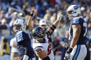 Tennessee Titans quarterback Zach Mettenberger, left, gets up as Houston Texans defensive end J.J. Watt (99) celebrates after Watt sacked Mettenberger for a 4-yard loss in the fourth quarter of an NFL football game Sunday, Oct. 26, 2014, in Nashville, Tenn. (AP Photo/Mark Zaleski)