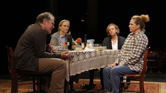 "This undated photo provided by The Public Theater shows, from left, Jay O. Sanders, Laila Robins, J. Smith-Cameron and Maryann Plunkett, in 'Sorry,"" Richard Nelson's third play about the Apple family, performing off-Broadway at The Public Theater in New York. (AP Photo/The Public Theater, Joan Marcus)"