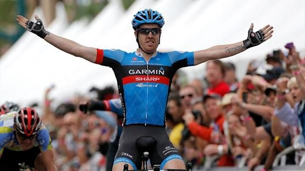 Tyler Farrar of Garmin-Sharp celebrates as he wins stage five of the USA Pro Challenge from Breckenridge to Colorado Springs (AFP)