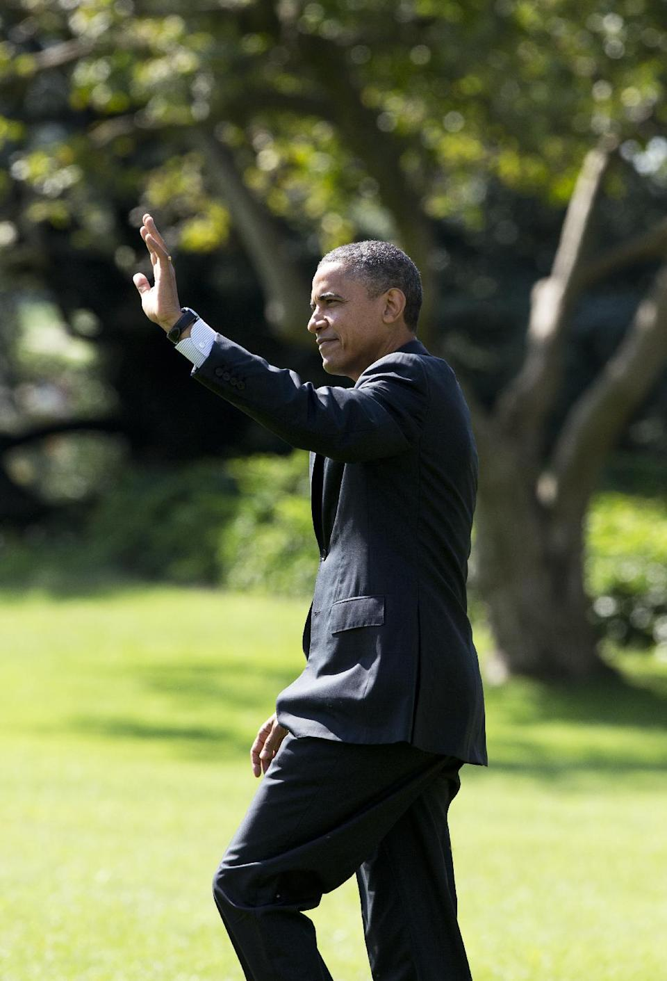 President Barack Obama waves as he leaves the White House in Washington for a campaign trip to Florida, Thursday, Sept. 20, 2012.  (AP Photo/Manuel Balce Ceneta)