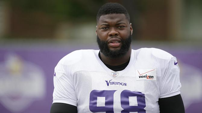 FILE - This is a July 27, 2014, file photo showing Minnesota Vikings NFL football player Linval Joseph during NFL football training camp in Mankato, Minn. Life is good for Linval Joseph. He's grateful he didn't lose it. The Vikings defensive tackle spoke publicly Tuesday, Aug. 26, 2014, for the first time since he was shot in the leg earlier this month. (AP Photo/Charlie Neibergall, File)