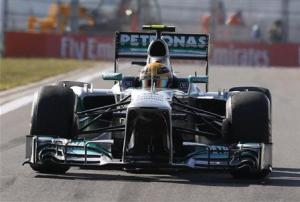 Mercedes Formula One driver Hamilton drives during the second practice session of the Korean F1 Grand Prix in Yeongam