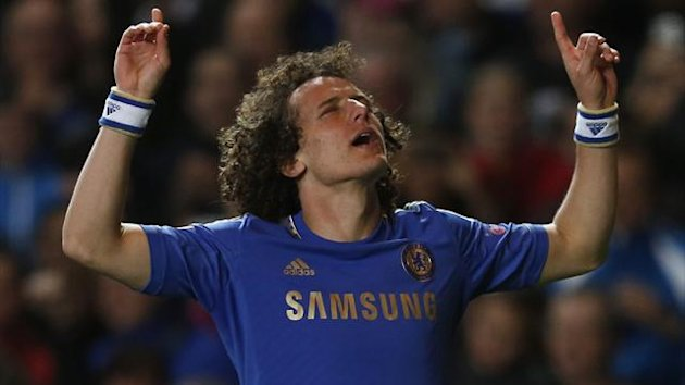 David Luiz celebrates his goal for Chelsea (Reuters)