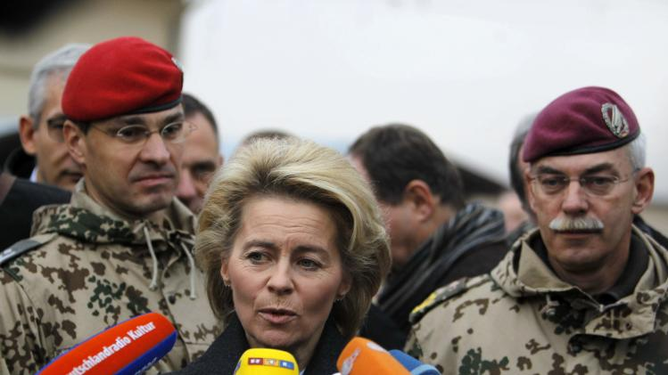 German Defence Minister Ursula von der Leyen speaks with the media after arriving to meet with German troops in Mazar-i-Sharif