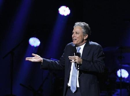 Comedian Jon Stewart speaks during the &quot;12-12-12&quot; benefit concert for victims of Superstorm Sandy at Madison Square Garden in New York