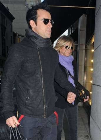 Justin Theroux with fiancé Jennifer Aniston