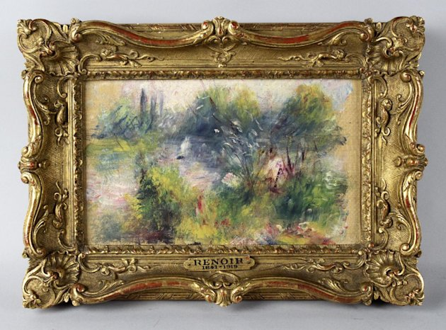 "This image released by Potomack Company shows an apparently original painting by French impressionist Pierre-Auguste Renoir that was acquired by a woman from Virginia who stopped at a flea market in West Virginia and paid $7 for a box of trinkets that included the painting. Anne Norton Craner, fine arts director for the Potomack Co. auction house in Alexandria, Va., says the woman made an appointment in July to see if it might be real. Craner says the painting was verified through a close look at the colors and brushwork along with the help of the French publisher of a catalog of Renoir's work. Craner said the painting is ""Paysage Bords de Seine."" (AP Photo/Potomack Company)"