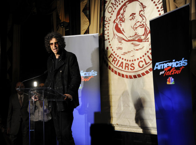 "Satellite radio talk show host Howard Stern, speaks to the media about his new role as a judge on ""America's Got Talent"" at the Friars Club on Thursday, May 10, 2012 in New York. (AP Photo/Evan Agosti"