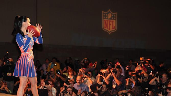 Super Bowl Halftime performer Katy Perry speaks onstage during the Pepsi Super Bowl XLIX Halftime Show Press Conference on January 29, 2015 in Phoenix, Arizona
