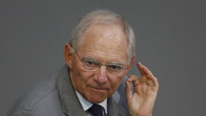 German Finance Minister Schaeuble gestures during a parliamentary debate on the Greek debt crisis at the German lower house of parliament Bundestag in Berlin