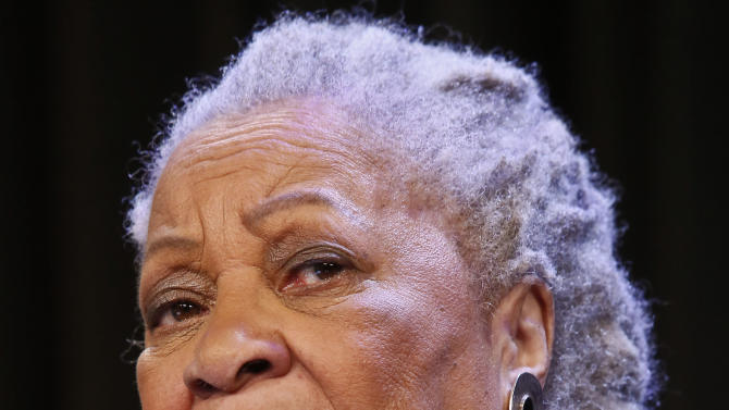 """Author Toni Morrison speaks during an interview about her latest book """"Home,"""" during Google's online program series, Authors At Google, on Wednesday, Feb. 27, 2013 in New York.  (AP Photo/Bebeto Matthews)"""
